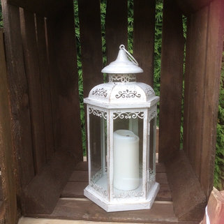 Ivory Metal Candle Lantern with Pillar Candle