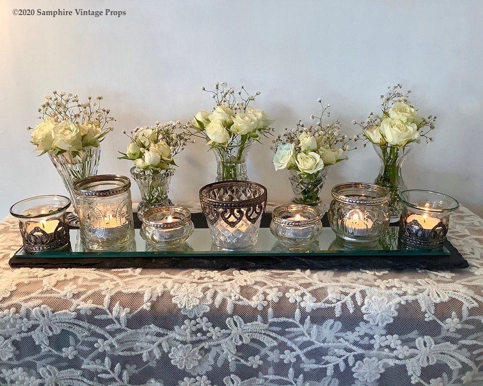 Vintage Cut Glass Bud Vases and Votives