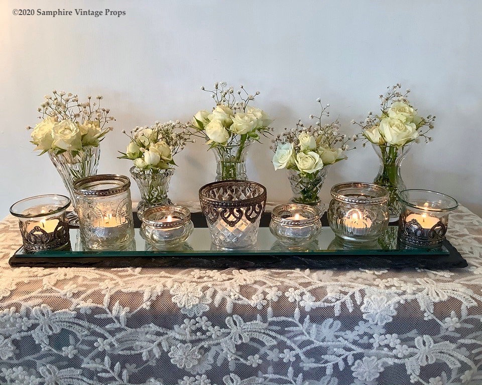 Vintage Cut Glass Bud Vases and Votives