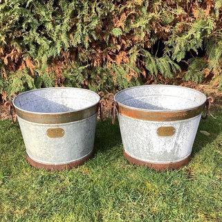 Large Galvanised Trough Buckets