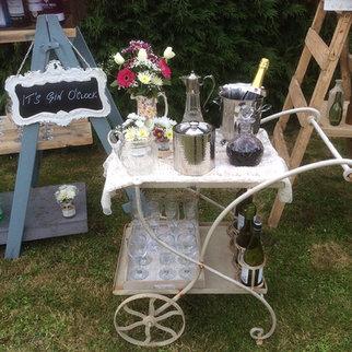 Antique Ivory Metal Garden Drinks Trolley Prop Hire