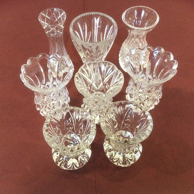 Vintage Cut Glass and Crystal Bud Vases Wedding and Celebrations Prop Hire