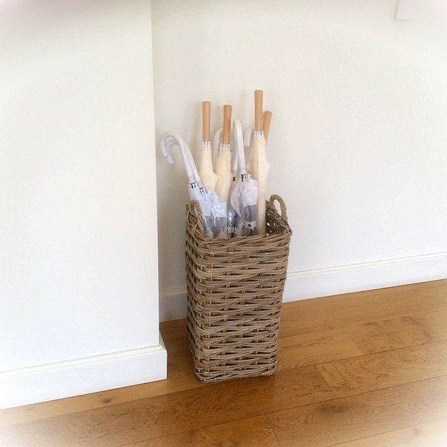 Tall Wicker Umbrella Stand and Wedding Event Umbrellas to Hire
