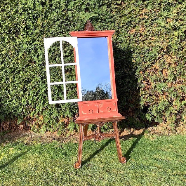 Rustic Red Mirror Window Hire for Event Decor or Signage