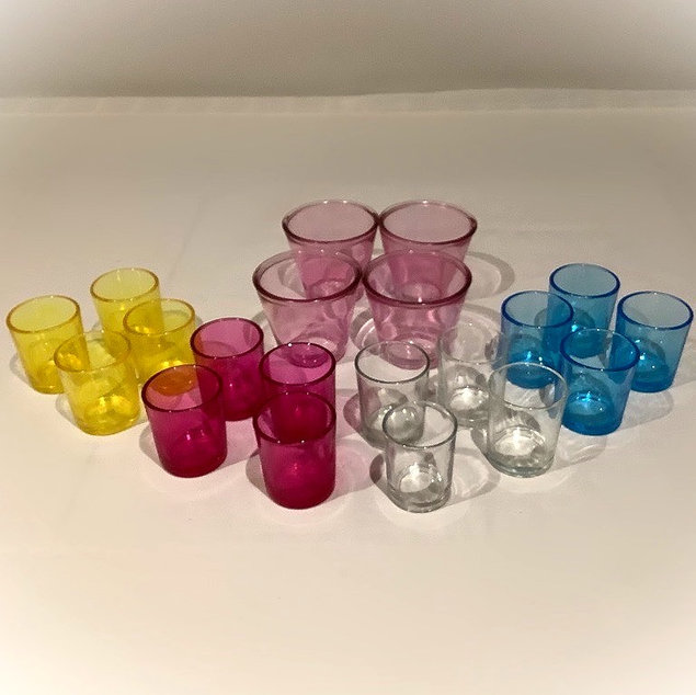 Multi Coloured Glass Tea Light Holders in Yellow, Pink, Blue and Clear Glass