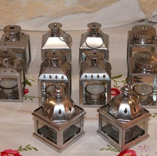 Mini Silver Metal Tea Light Lanterns with Hanging Ring