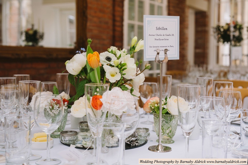 Beautiful Wedding Table Decor and Flowers with Bespoke Venue Stationery