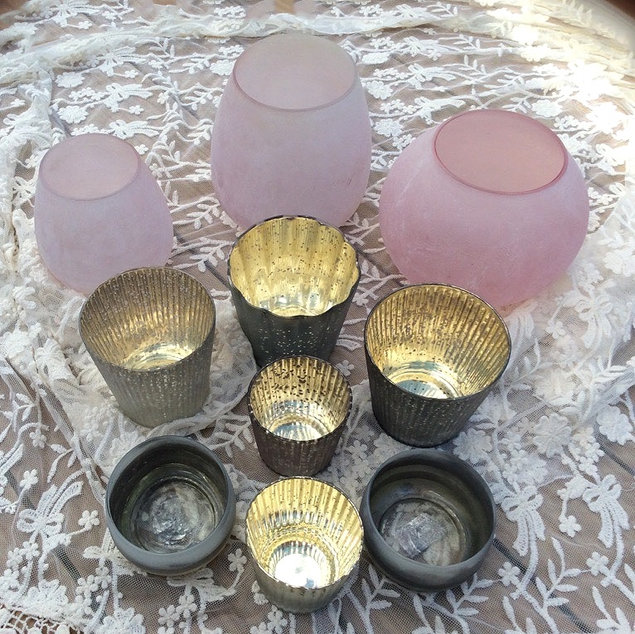 Assorted Pink Frosted Glass and Grey Speckled Mercury Glass Tea Light Holders