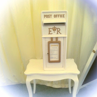 White Vintage Post Box. Card Collecting for Weddings and Celebrations