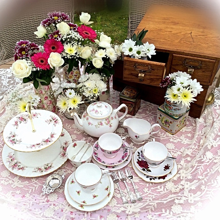 Vintage Rose Bud China and Props Available to Hire for Weddings and Celebrations North Norfolk