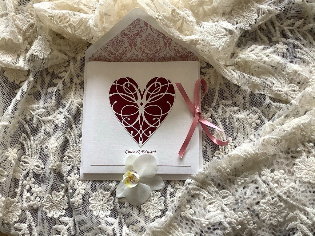 Bespoke Handmade Wedding Invitation with Burgundy Coloured Heart and Lined Envelope