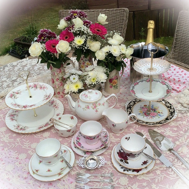 Pink and White Floral Vintage China Afternoon Tea!