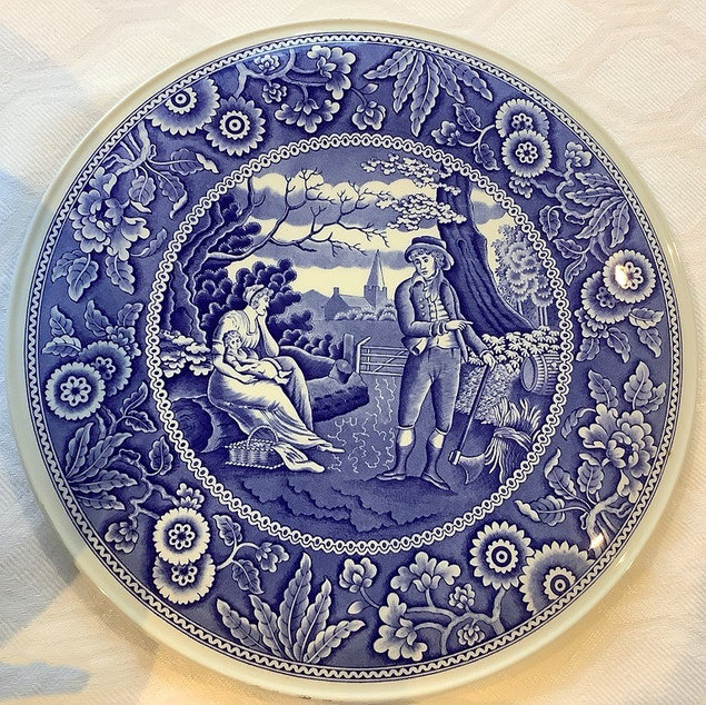 Spode Woodman Blue and White Flat Serving Plate Vintage China Hire