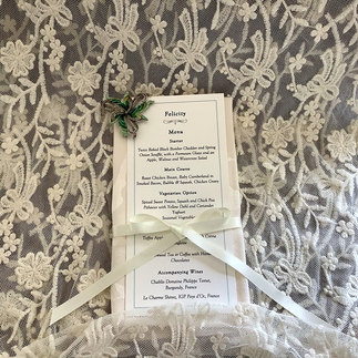 Venue Stationery Handmade Individual Menu Card with Dietary Requirements