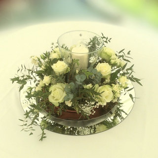 Glass Hurricane Lamp with Pillar Candle Floral Wedding Centrepiece