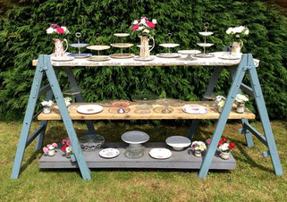 Vintage Trestles & Reclaim Shelving Hire for Rustic Wedding & Events