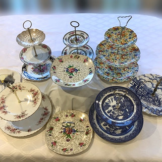 Vintage China Tiered Cake Stands Hire for Weddings and Tea Parties