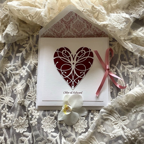 Bespoke Wedding Invitation Ivory Linen Card with Burgundy Heart and Pink Ribbon