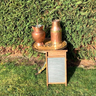 Antique Copper Urns and Vintage Wash Board Hire for Event Display.