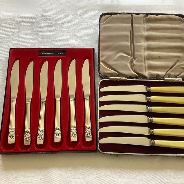 Silver Plated Tea Knives 2 cases containing 6 knives each box