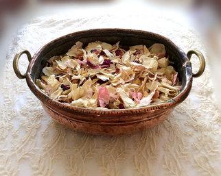 Antique Copper Pot and Natural Rose Petal Confetti