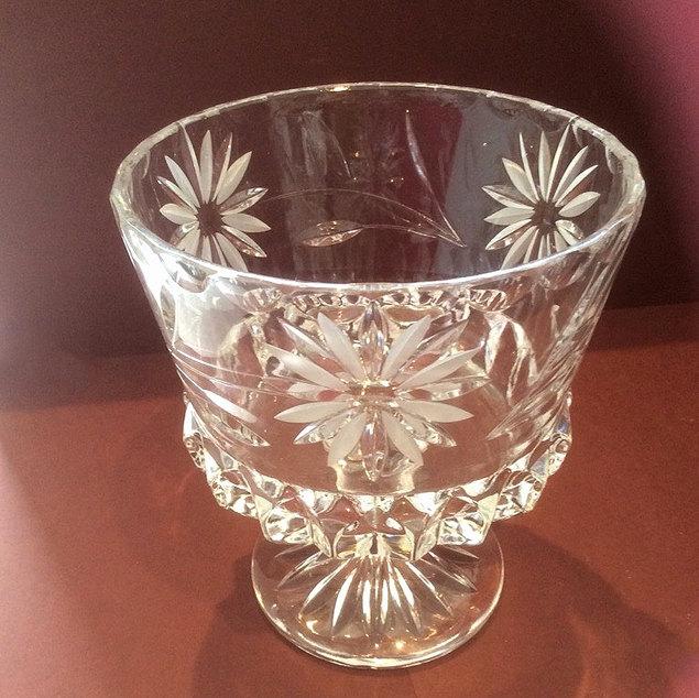 Vintage Cut Glass Stemmed Bowl