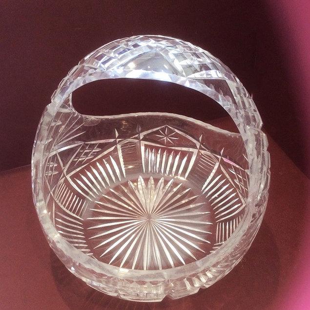Vintage Cut Glass Bon Bon Basket