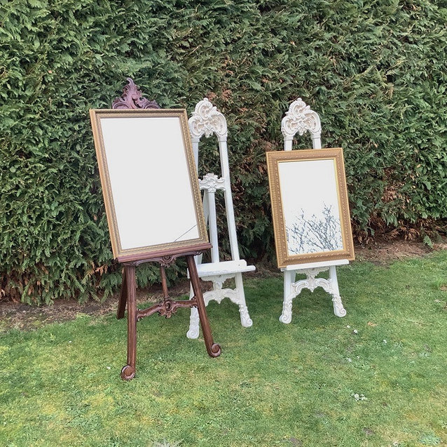 Mahogany and Ivory Easels and Gilt Edged Mirrors for Table Plans Hire for Events
