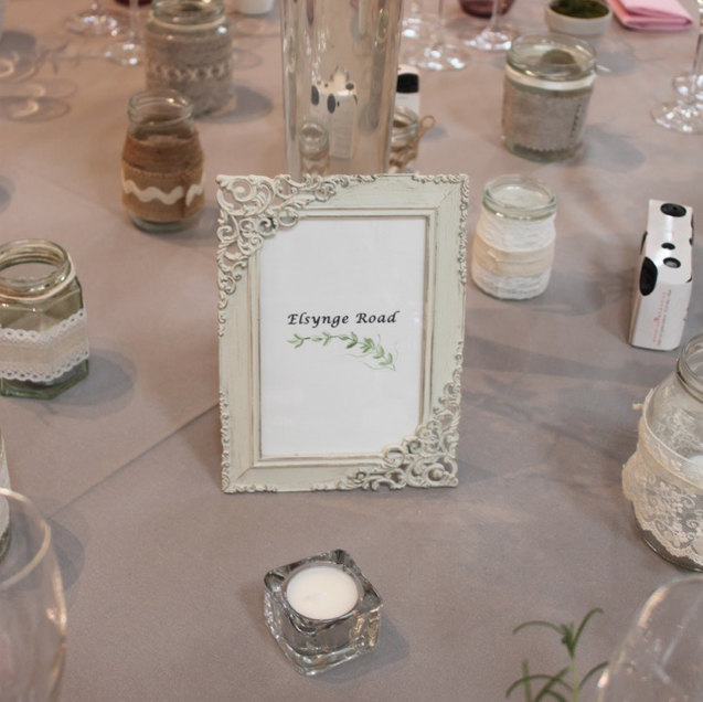 Vintage Style Ivory Photo Frame with Wedding Table Name