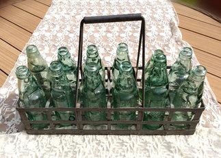 Vintage Galvanised Bottle Carrier with 12 Codd Bottles Event Props