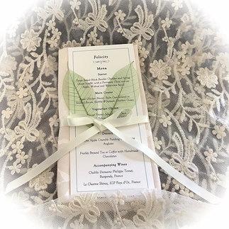 Handmade Wedding Menu Card with Place Name