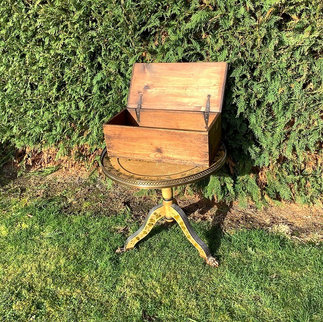 Antique Wooden Box with Hinged Lid