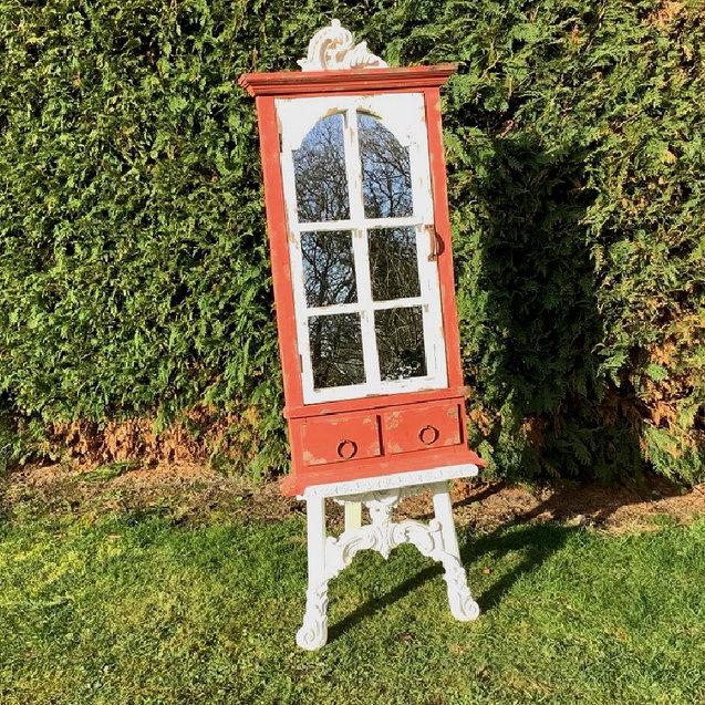 Rustic Red Window Mirror