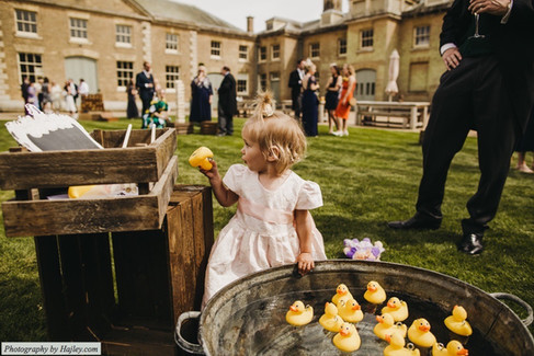 Hook a Duck Garden Game with Vintage Tin Bath hired for Wedding at Holkham Hall