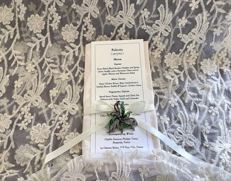 Bespoke Handmade Wedding Menu Place Card with Vintage Brooch