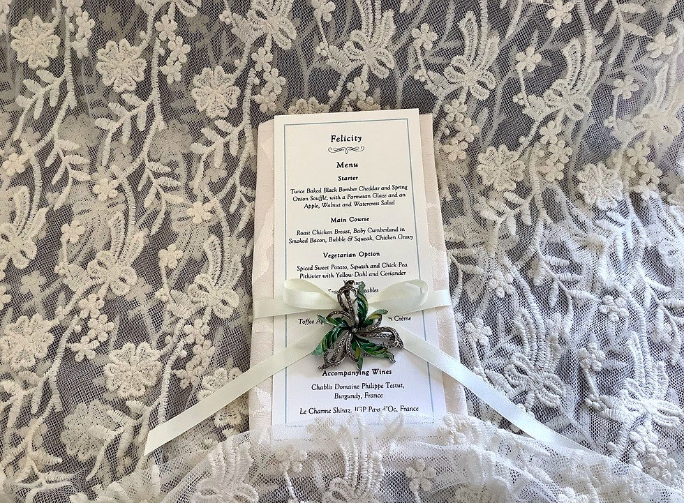 Bespoke Handmade Wedding Menu Place Card with Vintage Brooch