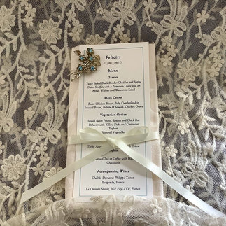 Venue Stationery Menu Place Card with Ribbon and Vintage Brooch with Pale Blue Setting
