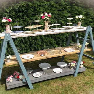 Vintage Trestles with Rustic Reclaim Shelving for Event Food or Sweet Station
