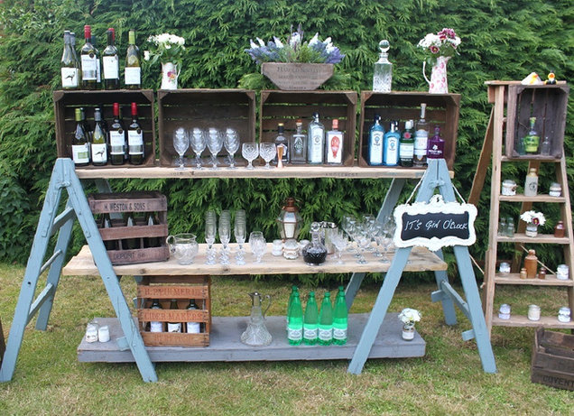 Vintage Trestle Drinks Bar with Rustic Shelving Event Prop Hire