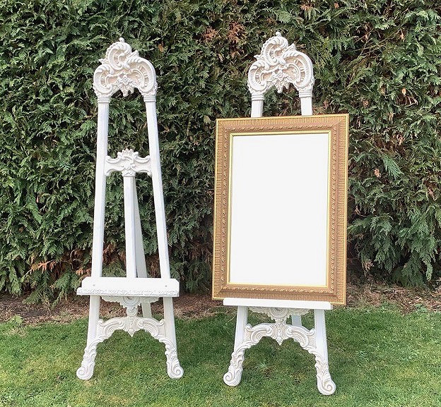 Shabby Chic Ivory Easels and gilt Framed Mirror Wedding Prop Hire
