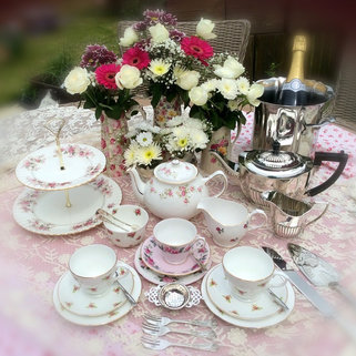 Silver Plated Teapot with Vintage China for Afternoon Tea