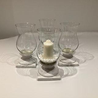 Glass Hurricane Urn with Pillar Candle Wedding Hire