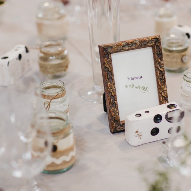 Vintage Style Photo Frame & Decorated Candle Jars