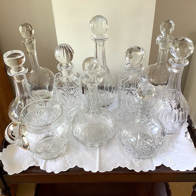 Cut Glass Decanters and Water Jug  Event Barware Prop Hire