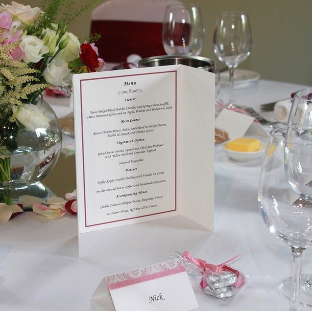 Handmade Wedding Venue Stationery Place Cards and Menu