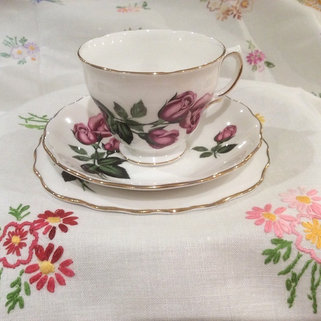 Vintage Floral Tablecloth and Floral Vintage China Trio