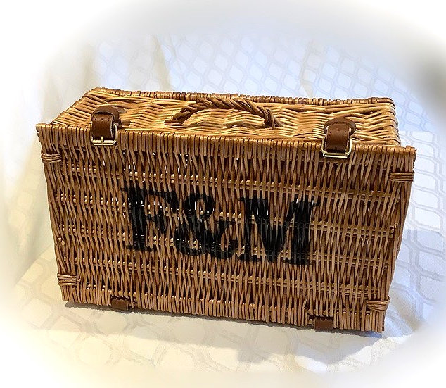 Fortnum and Mason Wicker Hamper Basket Prop to Hire for Events Decor Styling