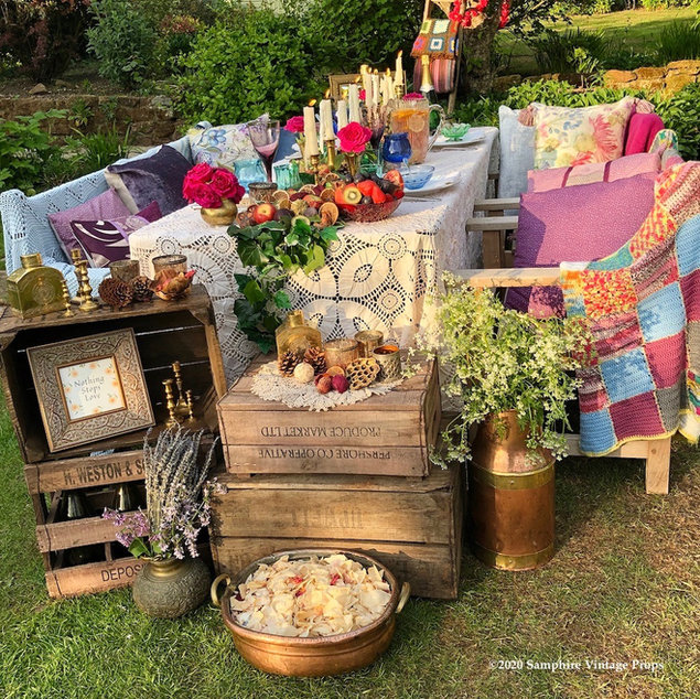 Summer boho dining as the sun goes down