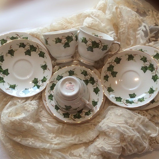 Vintage Bone China Ivy Leaf Pattern Tea Set Consisitng of Three Trios Event Hire