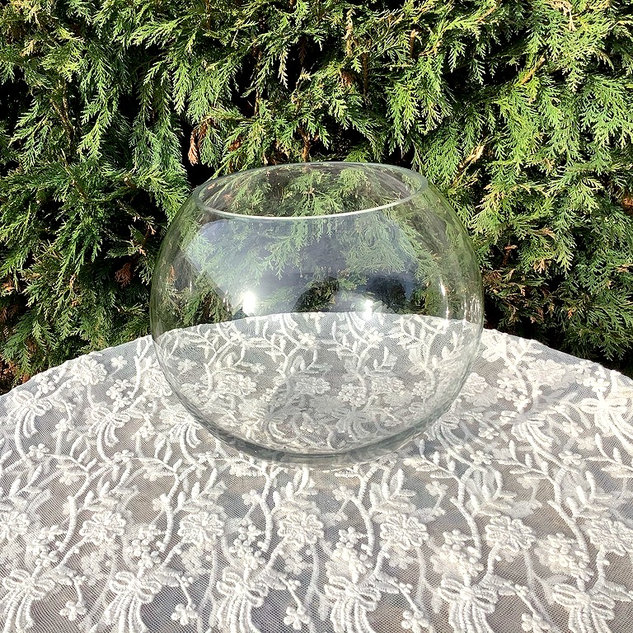 Large Clear Glass Fish Bowl Wedding Centrepiece Available to Hire